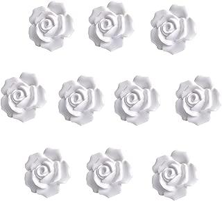 eoocvt 10pcs Ceramic Vintage Floral Rose Flower Door Knobs Handle Drawer Kitchen + Screws (White)