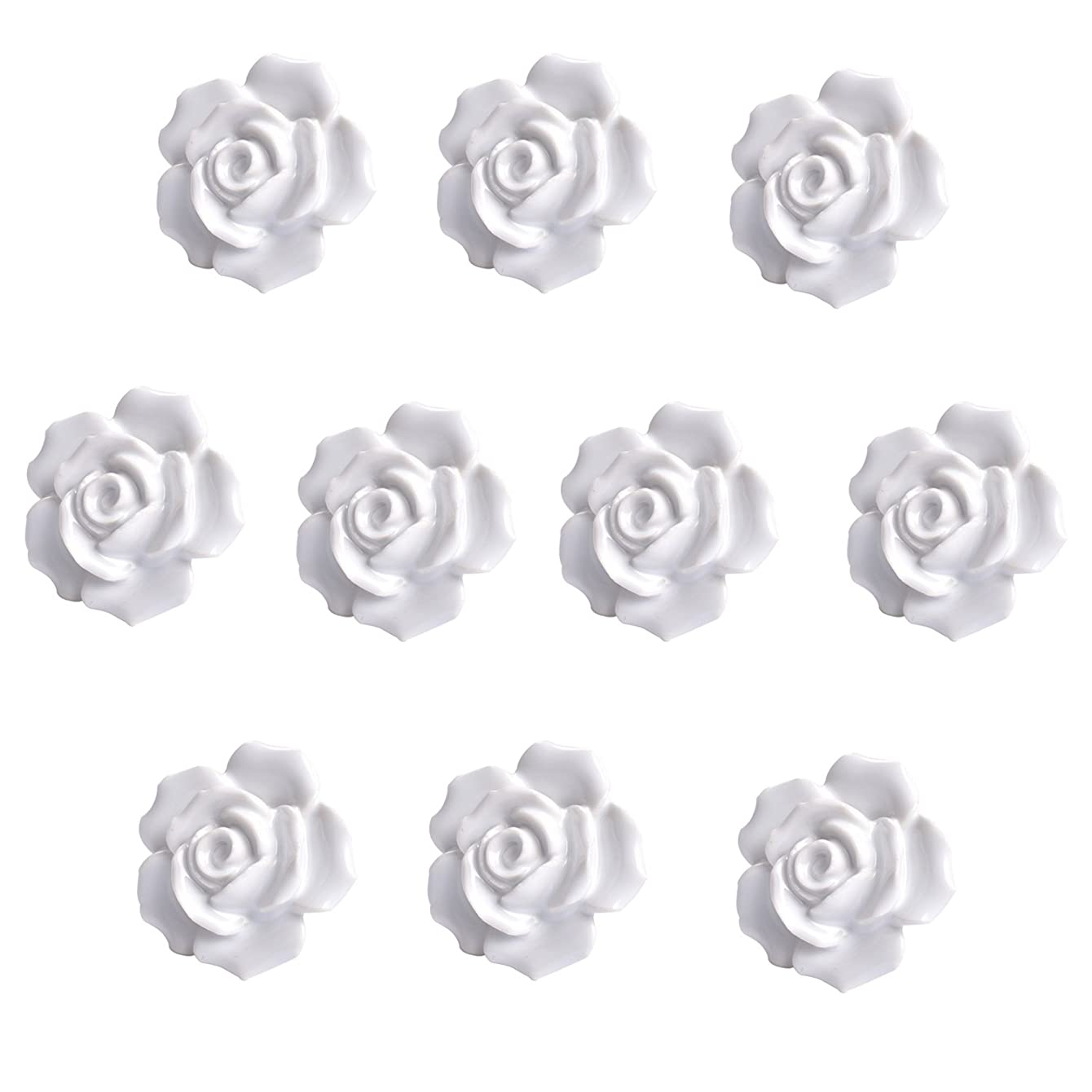 Agile-Shop 10 Pcs Ceramic Vintage Floral Rose Flower Door Knobs Handle Drawer Kitchen + Screws (White)