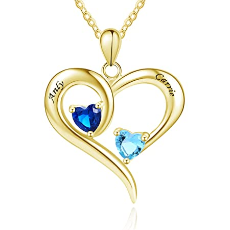 Engraved Heart Birthstone Necklace Personalized Heart Name Pendant Memorial Jewelry