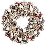 com-four® Corona de Mesa para Navidad - Corona de Adviento con Conos Blancos, Bolas de Nieve y Bayas - Corona Decorativa - Decoración navideña - Corona de Puerta - Corona de Navidad - Ø 33 cm