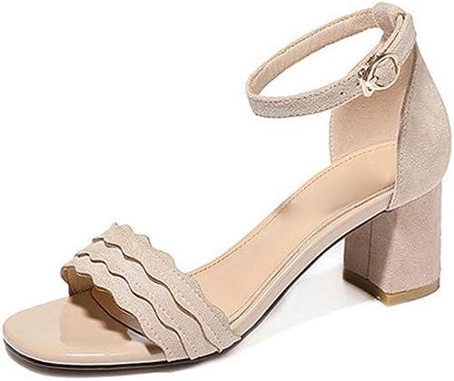 GTVERNH-Chaussures pour Femmes Rome 6 Cm des Talons Hauts Trampoline Sandales Summer Joker Rome Les Chaussures De Femmes.