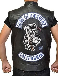 KAAZEE Sons of Anarchy Charlie Hunnam Jax Teller Season 7 Motorcycle Black Biker Leather Vest for Men