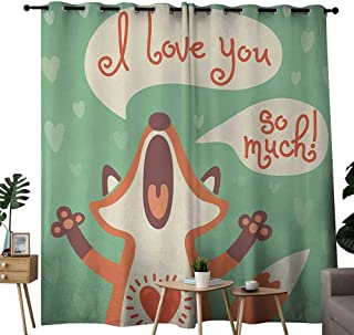 NUOMANAN Curtains Lifestyle,I Love You So Much Fox Humor Romance Birthday Valentines Celebration Print,Mint Green Ginger,Treatments Thermal Insulated Light Blocking Drapes Back for Bedroom 54