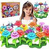 WISHTIME Blumengarten Spielzeug für Mädchen, DIY Blume Bausteine für Kinder Pädagogisches Spielzeug Kreative Spiele 148 Stück Einstellen Bausteine