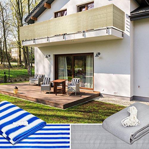Lumaland Tenda Frangivento Frangivista Da Balcone 0,9 X 5 M Con Corde Per Montaggio, 100% HDPE Filtro Anti UV, Sabbia
