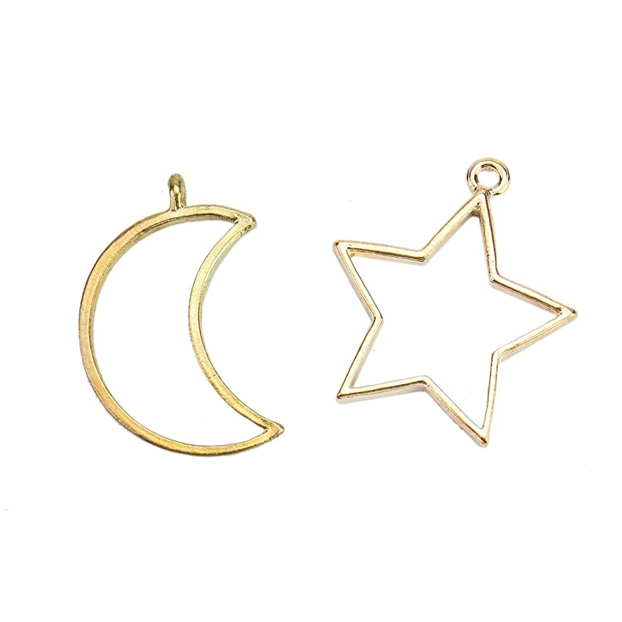Monrocco Open Bezel Jewelry Making Moon Star Hollow Open Back Bezel Frame Pendants for Resin Earrings Necklace Bracelet, Pack of 10