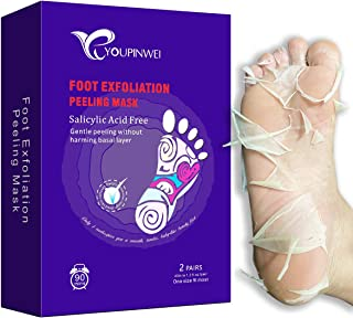 YOUPINWEI Foot Peel Mask, Exfoliating For Dry Cracked Feet, Calluses and Dead Skin Remover (2 Pairs/Box)