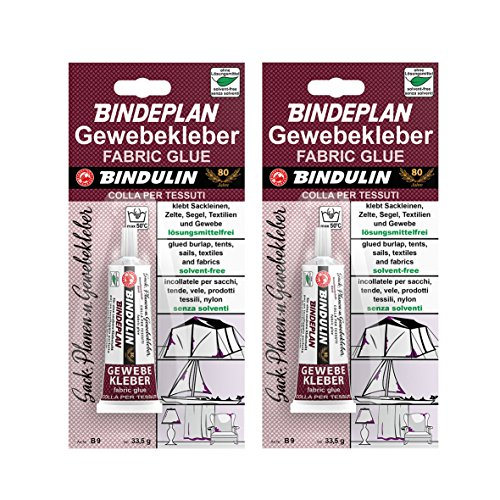 2 x Bindulin Bindeplan Textilkleber, Gewebekleber, ohne Lösungsmittel, Inhalt: 2 x 33,5g