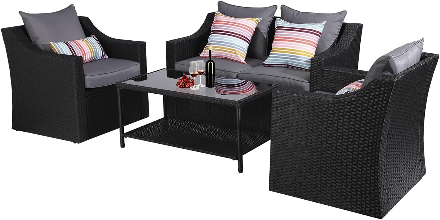 4-Piece Award-winning store Outdoor Conversation Set Financial sales sale Patio Furniture Bistro