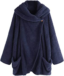Women Vintage Coats PgojuniWomen Casual Solid Turtleneck Big Pockets Cloak Coats Oversize Coats
