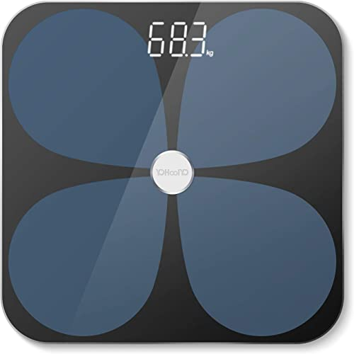 YOHOOLYO Smart Bluetooth Body Fat Scale Digital Bathroom Scale for 24 Body Data Analyze with IOS Android App Measurin...