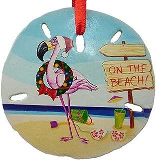 Christmas Flamingo On The Beach Sand Dollar Ornament, 3 Inch