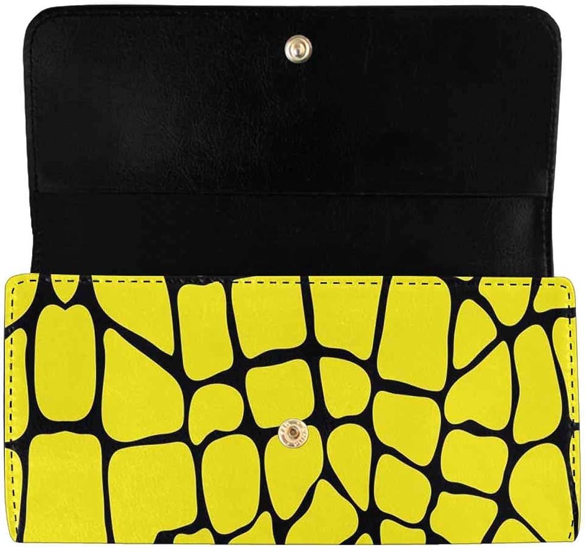 INTERESTPRINT Women's Trifold Clutch Purses Abstract Tiger Pattern Card Holder Wallet