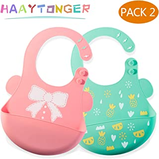 Baby Bibs for Boys and Girls by Haaytonger, Waterproof Silicone Bibs for Eating Easily Wipes Clean! Comfortable Soft Baby Bid Perfect for Travel Set of 2 Colors, Dishwasher Safe, BPA-FREE, 6-36 Months