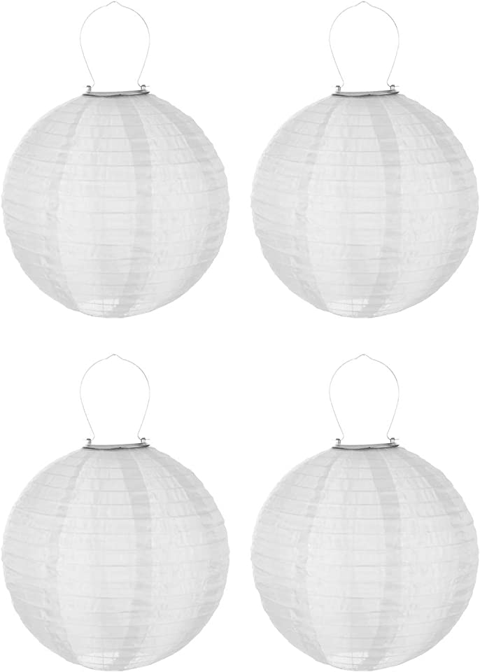 Solar Lampion LED Lampions Außen Garten Laterne, 30cm Rund Ballform Lampenschirm Papierlaterner Papierlampen, IP55 Wasserdicht Hängende Laterne für Hochtzeit Kirche Dekoration