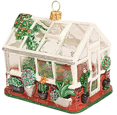 Gartenschätze Christbaumschmuck-Weihnachtskugel-Gewächshaus 9 cm-2308