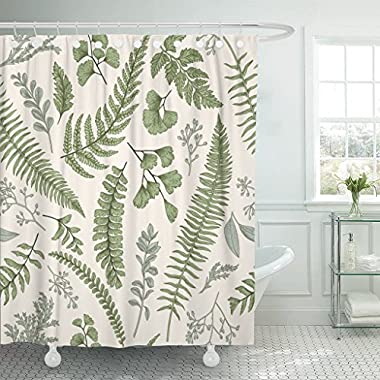 Emvency Shower Curtain Floral Pattern in Vintage Leaves and Herbs Botanical Boxwood Waterproof Polyester Fabric 72 x 72 Inches Set with Hooks