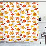 ABAKUHAUS Herbst Duschvorhang, Fallen Maple Leaves Pattern, Klare Farben aus Stoff inkl.12 Haken Farbfest Schimmel & Wasser Resistent, 175x200 cm, Weiß & Multicolor