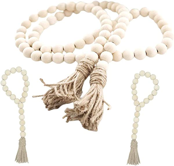 Fairy Maker Wood Bead Garland Set 3 Pcs Farmhouse Rustic Country Beads With Tassles Wall Hanging D Cor