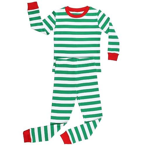 242b2669ef Elowel Boys Girls Christmas Striped 2 Piece Kids Pajamas Set 100% Cotton  6M-12Y