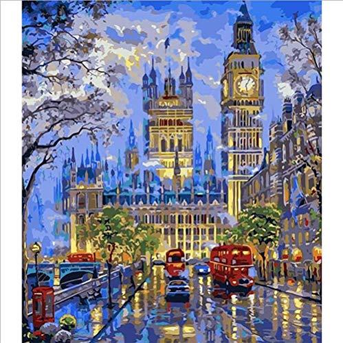 5D Diamond Painting Pittura, DIY Londra Big Ben Attrazioni Diamante Art Pull Drill Crystal Rhinestone Ricamo, per Arredamento per La Casa 30 X 40 Cm