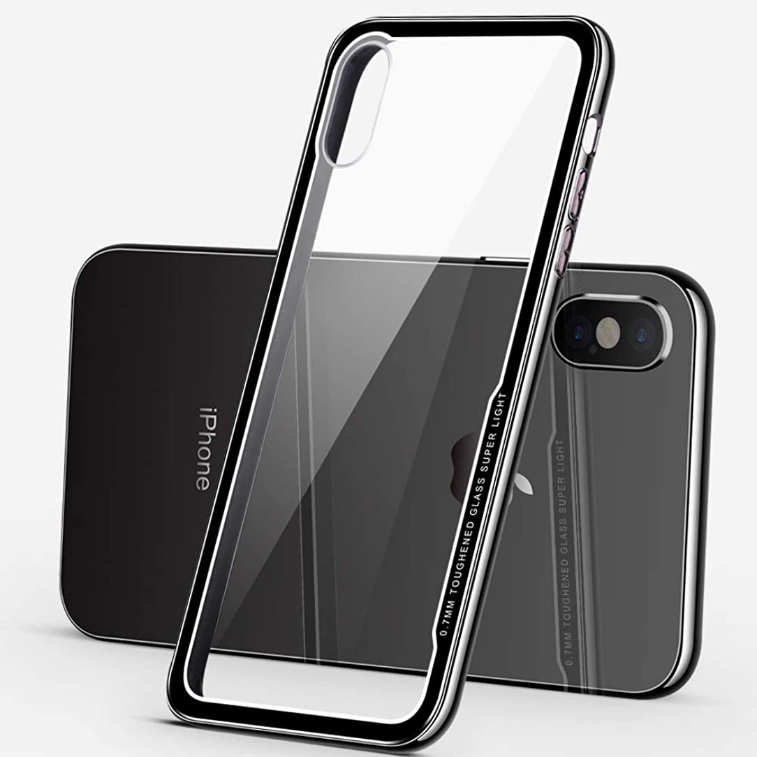 Tempered Glass Case,Ithuriel for iPhone Xs Case,for iPhone X Cover Soft Finish TPU+Tempered Glass Hard Back Panel Hybrid Ultra-Thin Protect Cover for iPhone X/XS 5.8-inch (Black)