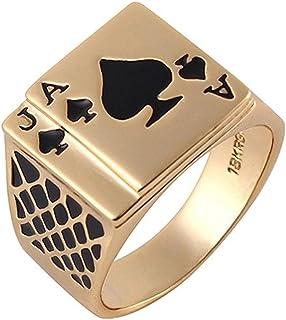 Yfnfxl خاتم أزياء خمر للرجال الأسود مطلي بالذهب المينا البستوني البوكر الدائري