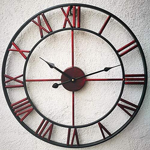 Nwarmsouth Reloj de Etiqueta de,Reloj de Pared Mudo de Hierro Forjado, Reloj de decoración Creativo Retro para Sala de estar-40cm Vino Rojo,Pared Decoración Ideal para