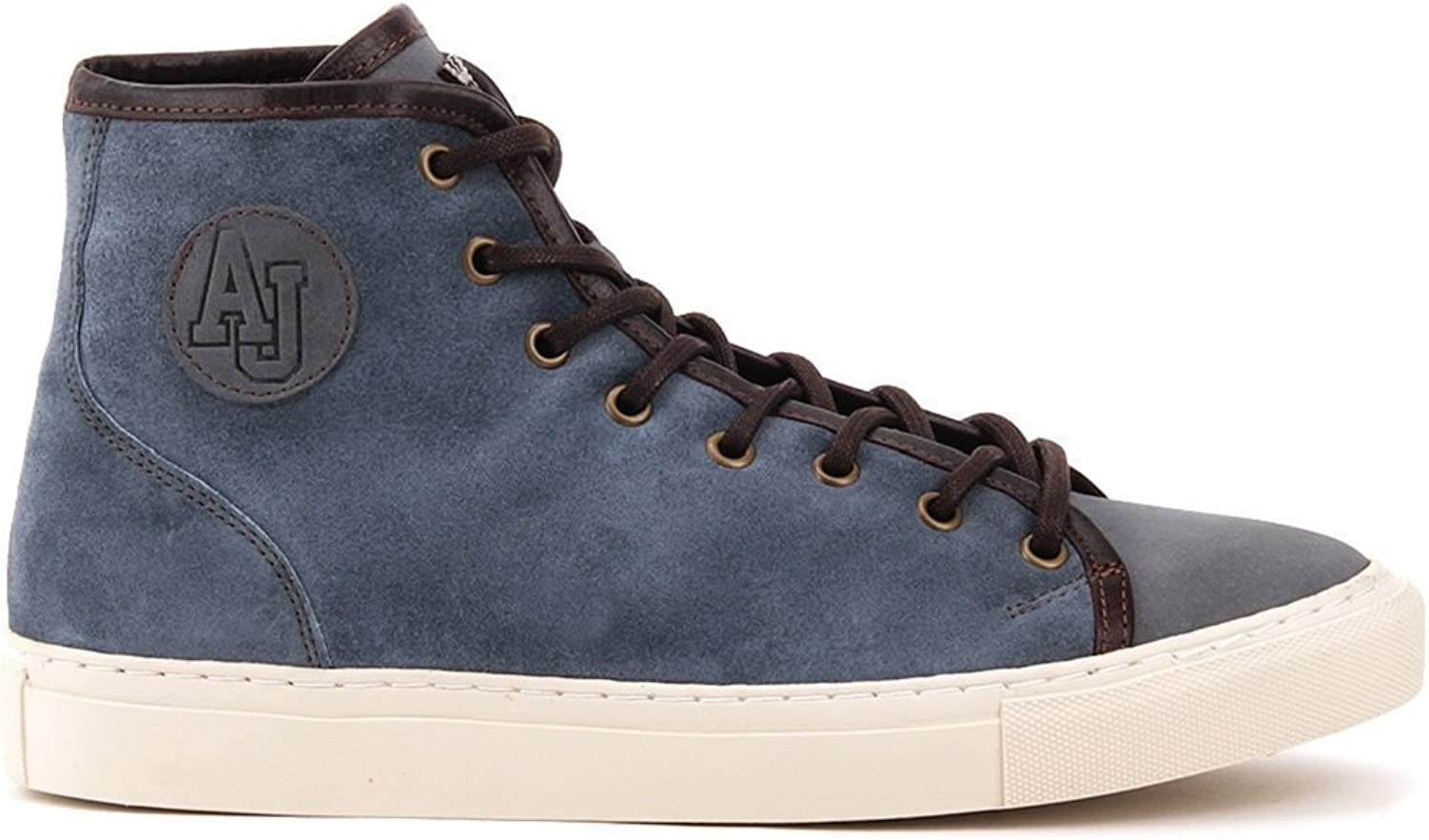 ARMANI JEANS Men's Light bluee Suede Leather Hi Top Sneakers