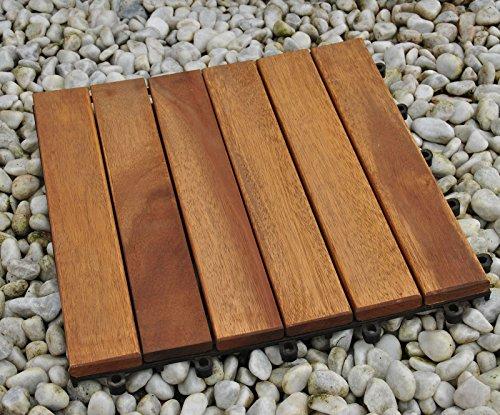 Einzelfliese 01, Terrassenfliese aus Akazien-Holz, Holz-Fliese mit 6 Latten für Garten Terrasse Balkon, Balkon Bodenbelag mit Drainage-Unterkonstruktion für problemfreien Wasserablauf unter den Fliesen