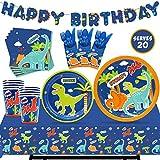 Nefelibata Dinosaur Party Tableware Supplies Set Serves 20 Guests-Happy Birthday Banner,Plates, Cups,...