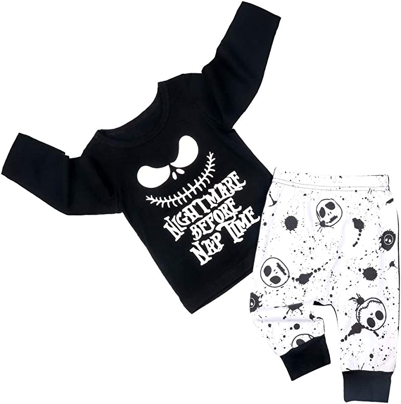 Toddler Baby Boy Clothes 2PCs Outfit Set Nightmare Printing Long Sleeve And Skull Pants 0 5T Kids Clothing Set