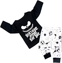 Toddler Baby Boy Clothes 2PCs Outfit Set Nightmare Printing Long Sleeve and Skull Pants 0-5T Kids Clothing Set