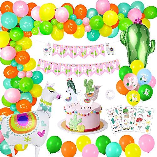 Yansion MMTX Geburtstag Partei Dekoration, Lama Luftballons Karneval deko Mexikanische Party Dekoration Kaktus Luftballons Fiesta Party Supplies für Jungen Mädchen Hochzeit Geburtstag Baby Shower