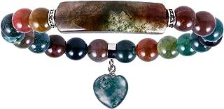 SUNYIK Handmade Love Heart Stone Bracelets for Women Men, Natural Crystal Bar Curved Bead Stretch Bracelet for Unisex