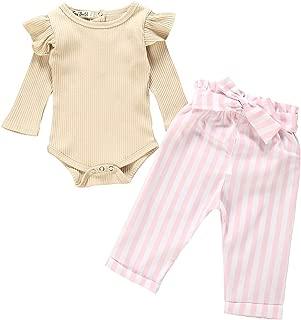 3Pcs Clothes Set Newborn Baby Girl Ruffled Romper Bodysuit Shorts Pants with Headband