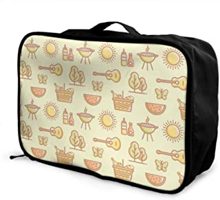 Custom Travel Storage Bag Lightweight Creative Delicious Buffet Bbq Meat Storage Bags Foldable Portable Storage Luggage Bag With Trolley Sleeve