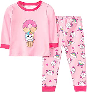 Baby Girl Pajamas Set, Toddler Kids Long Sleeve Cotton Cute Cartoon Pattern Pajamas Set Tops+Pants Outfits Set