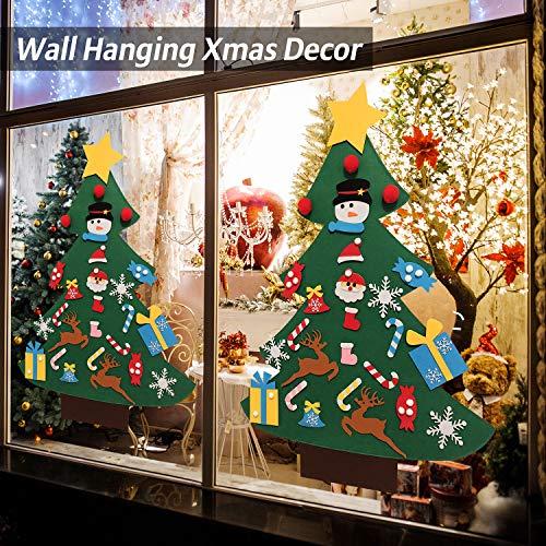 VEEYOL Felt Christmas Tree for Kids - DIY Christmas Tree with 33 Pcs Ornaments - Wall Hanging Xmas Gifts Christmas Decorations