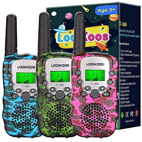LOOIKOOS Walkie Talkies for Kids ,Kids Toys 22 Channels 2 Way Radio Best Gift for Age 3-12 Boys and Girls