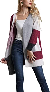 Howely Womens Open Front Boho Knit Cardigan Long Sleeve V Neck Sweater