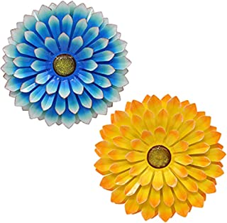 Large Metal Flower Outdoor Wall Decor Garden Hanging Decoration for Patio Bedroom Living Room Office, Orange (Blue&Yellow)