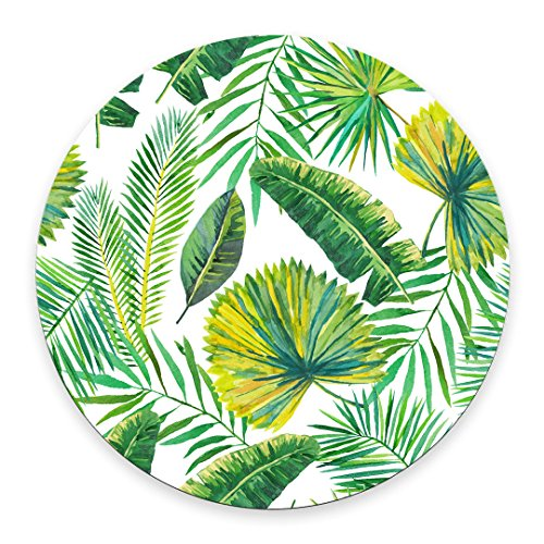 Green Palm Leaves on The White Background Round Mouse pad Customized Non Slip Rubber Round Mouse pad Non Slip Rubber Mouse pad Gaming Mouse Pad