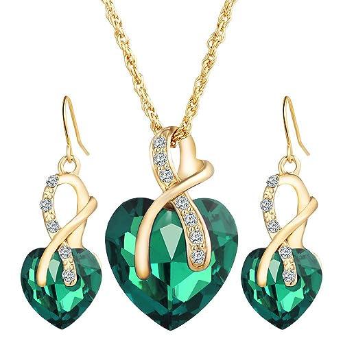 6e45e5de44ff4 Guirui Jewelry Elegante Donna Cuore Set di Gioielli - Bellissimo Cristallo  di Zirconi Orecchini Pendenti Collana