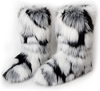 Details about  /Ladies Warm Snow Mid Calf Boots Fur Furry Flat Buckle Round Toe Bootie Shoe Size