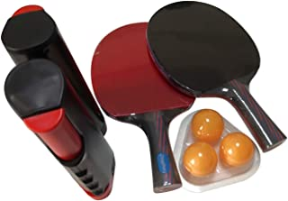 Zingther Ping Pong Paddles Set with Portable Retractable Table Tennis Net and 3 Balls (Complete 2-Player Set with Zingther...