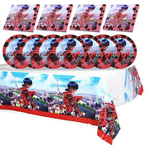 Qemsele Vajilla de cumpleaños de niños, 1 Mantel 20 Servilletas 20 Platos Desechables Fiesta Cumpleaños Decoración, Feliz cumpleaños Decoraciones Suministros Regalos Carnaval(Ladybug)