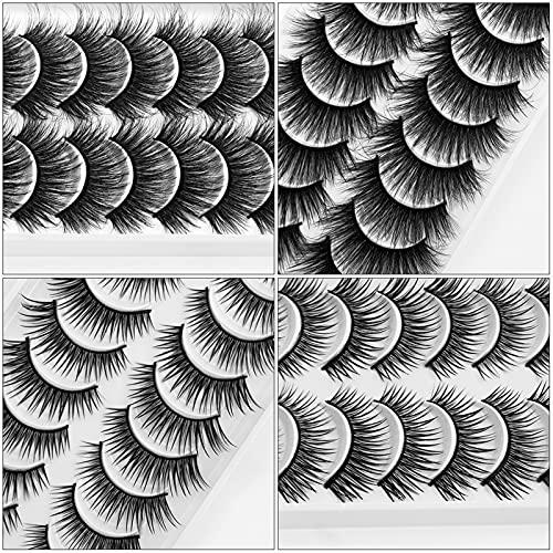 YQSBYI 10 Paare 3D Mink Wimpern Masse Faux Dicke lang Wispy Natürliche Mink Wimpern Pack Kurze Großhandel Natürliche falsche Wimpern (Color : X10)