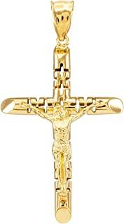 Solid 14k Yellow Gold Artistic Cross Charm Aerated Crucifix Pendant