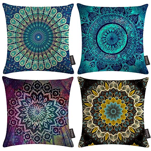 VIGVOG 4 Pack Boho Pillow Covers Retro Floral Mandala Compass Medallion Bohemian Cushion Cover Throw Colorful Double Printed Floral Pillow Case 18 X 18 Inch Pillowcase(Boho 03)
